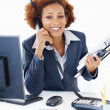 Smiling business woman on phone call - Stock Photo
