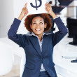 Business woman holding dollar signboard - Stock Photo