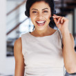 Happy call center operator - Stock Photo