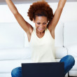 Cheerful woman laptop - Photo
