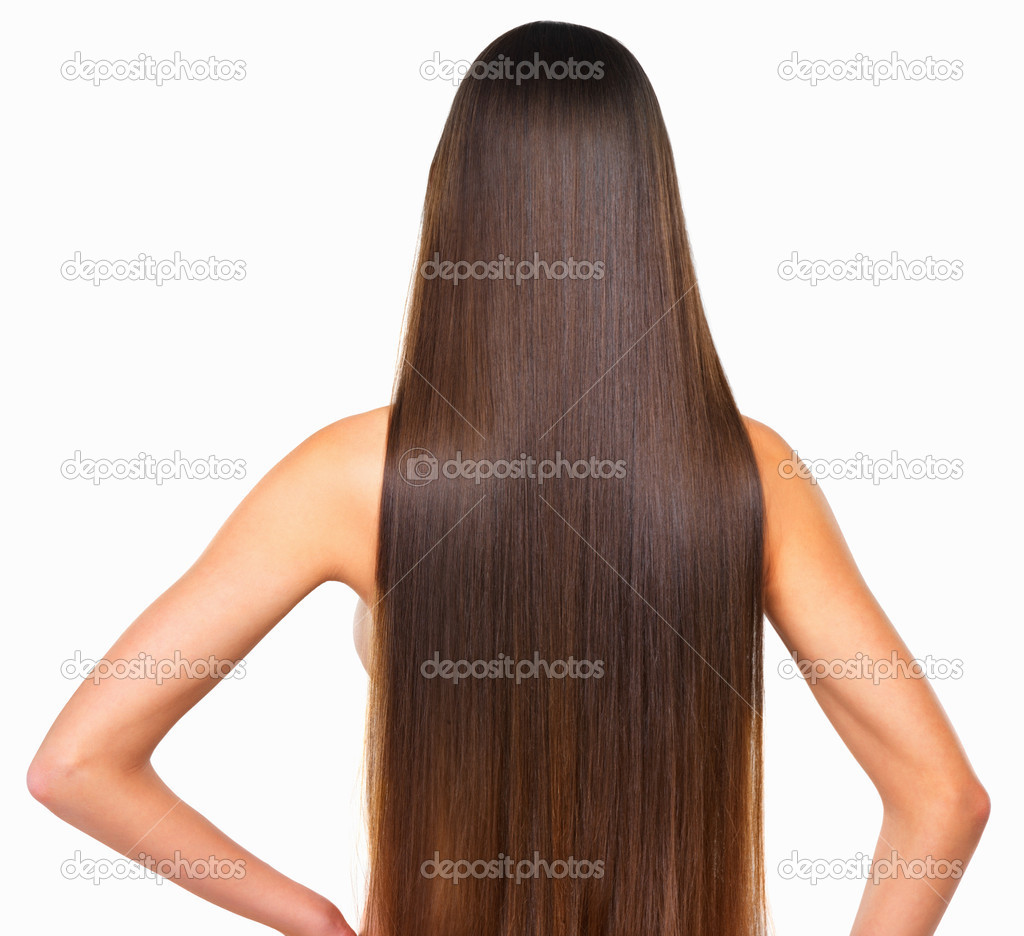 Rear view of woman with smooth hair over white background — Photo #7877337