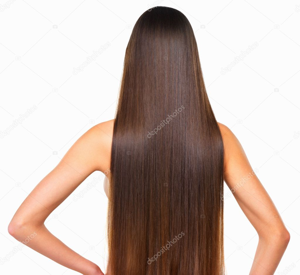 Rear view of woman with smooth hair over white background — Foto Stock #7877337