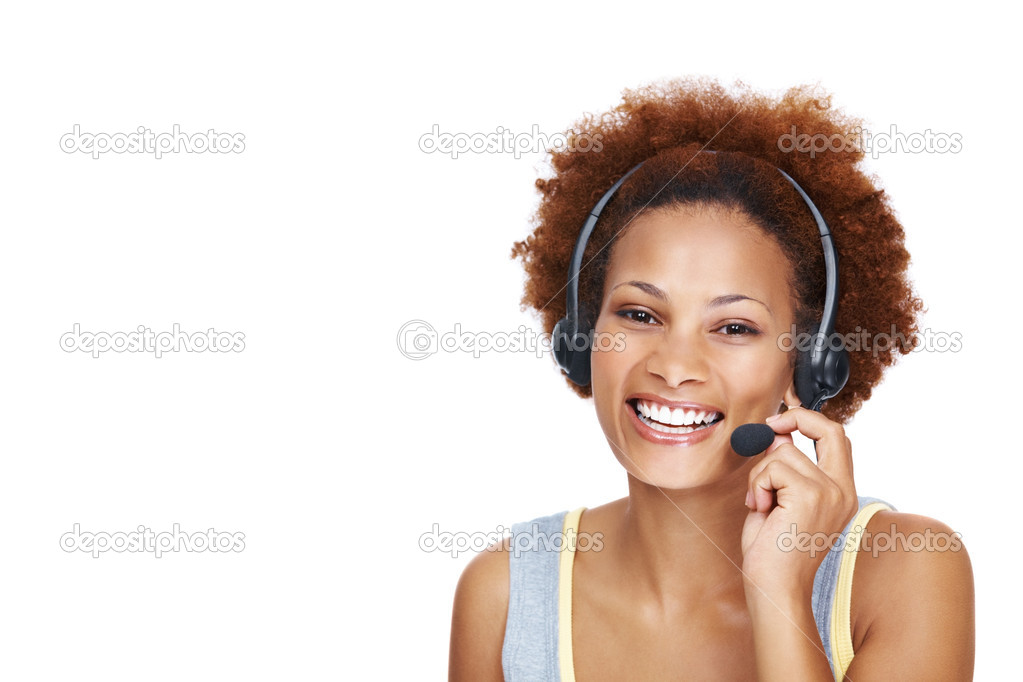 Portrait of smiling young felame call center employee wearing headset on white background - Copyspace — Stock Photo #7878252