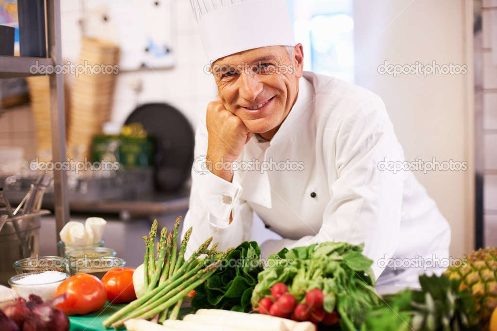 Portrait of handsome cook happy in his world — Stock Photo #7880893