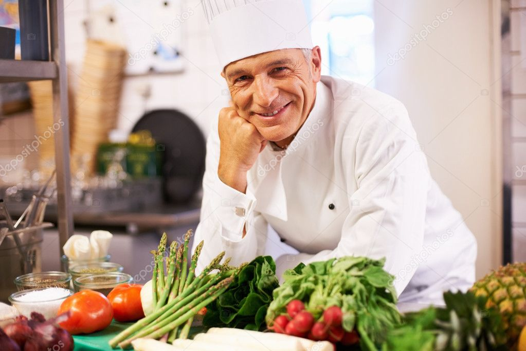 Portrait of handsome cook happy in his world  Stockfoto #7880893