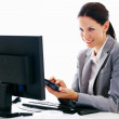 Business woman calculating - 