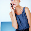 Business woman having happy conversation - Stock Photo