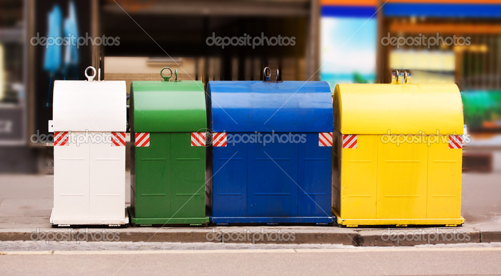 Colorful trash bins outside for litter segregation and clean environment — Stock Photo #7712925