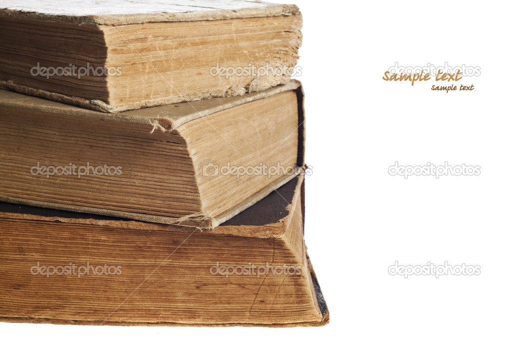 Stack of old books on the white background   Stock Photo #7057577