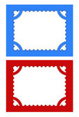 Postage stamps in red and blue backgrounds. — Stock Vector
