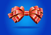 Red bow on a blue background. — Stock Vector
