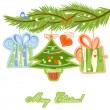 Christmas tree twig and gifts — Stock Vector