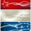 Stock Vector: Light waves and sparkling stars vector backgrounds
