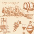 Stock Vector: Vintage wine and wine making set