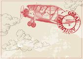 Fondo de papel vintage con nubes y avión — Vector de stock