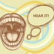 Opened mouth speaking loud and speech bubble — Image vectorielle