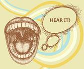 Bouche ouverte, parlant à voix haute et bulle — Vecteur