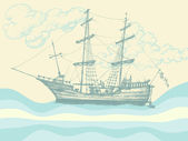 Vintage sailing boat — Stock Vector