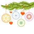 Pine branch and Christmas balls over white — Vector de stock #6944178