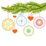 borové větve a vánoční koule nad bílá — Stock vektor