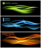 Shiny color waves over dark vector backgrounds — Vector de stock