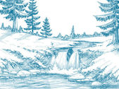 Mountain river pencil drawing — Stock Vector