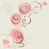 Cœurs et fleurs roses — Vecteur