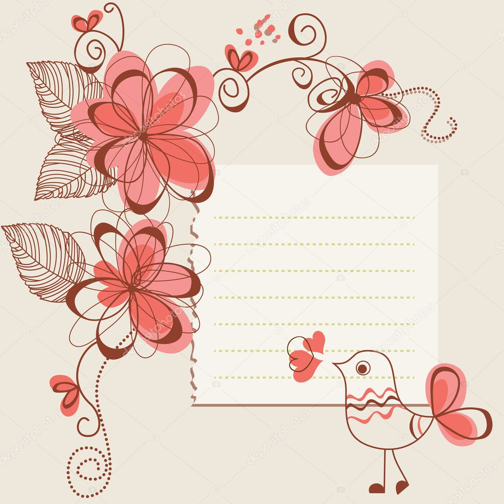 Flowers and bird romantic card  — Grafika wektorowa #7032732