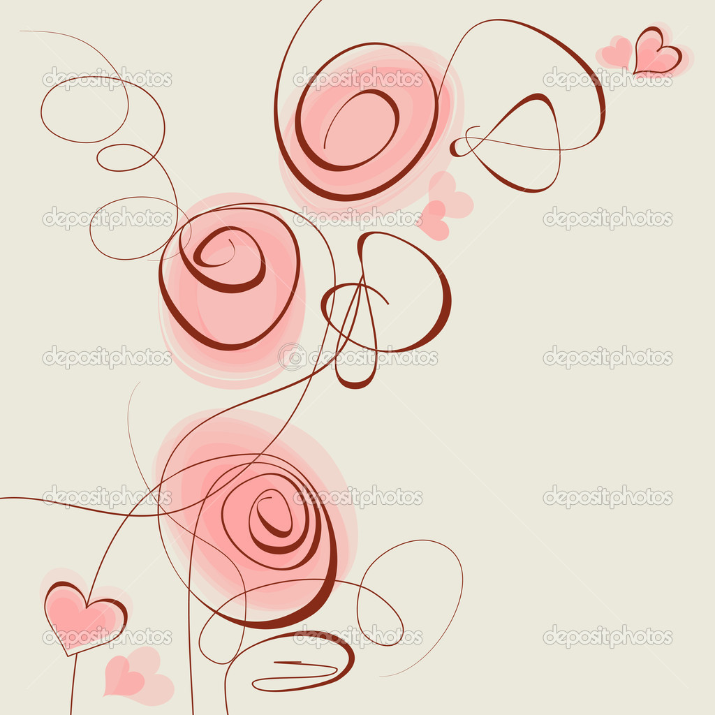 Pink flowers and hearts — Stock Vector #7033779