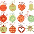 Retro Christmas ornaments set in traditional colors — Stock Vector
