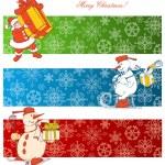 Cartoon Christmas banners — Stock Vector