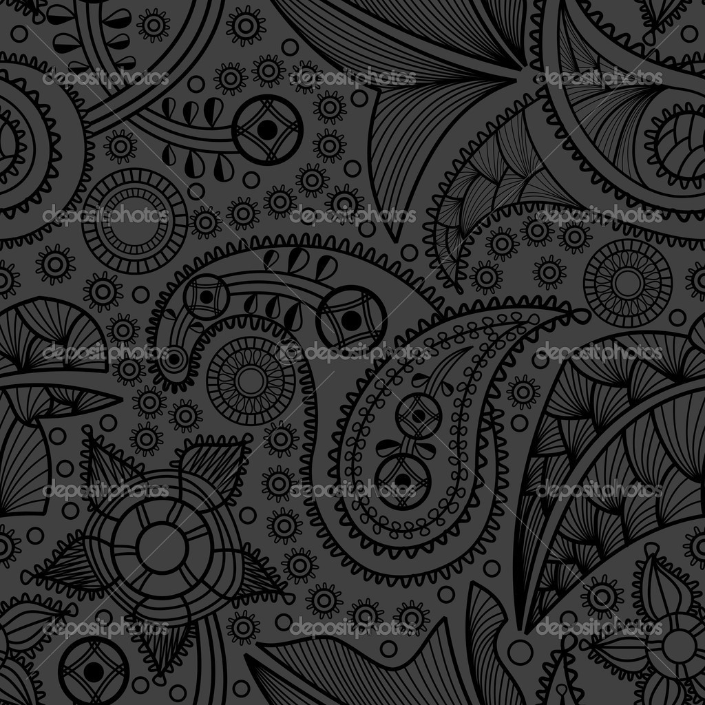 Paisley black seamless pattern   Stock Vector #7146414