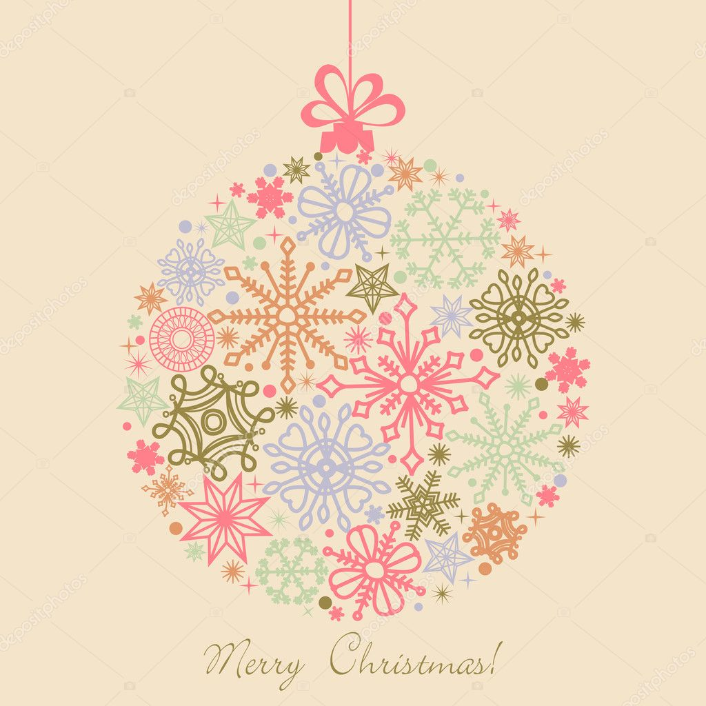 Retro Christmas ball made of snowflakes, boho colors  — Stock Vector #7235231