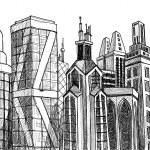 edifici urbani vettoriale — Vettoriale Stock