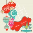 Christmas background, scrap booking elements — Stock Vector