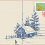 Christmas card winter nature scene — Stock Vector
