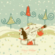 Cute Christmas greeting card, winter scene — Stock Vector #7319900
