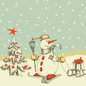 Winter cartoon scene — Stock Vector