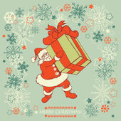 Santa Claus delivering gift — Stock Vector