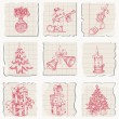 Christmas icons hand drawn on paper — Stock Vector