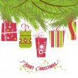 Christmas gift boxes hanging over Christmas tree — Imagen vectorial