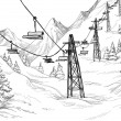 Mountain ski lift sketch - Stock Vector