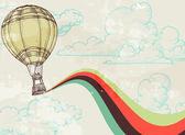 Retro hete lucht ballon hemelachtergrond — Stockvector