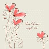 Décoration florale de coeurs — Vecteur