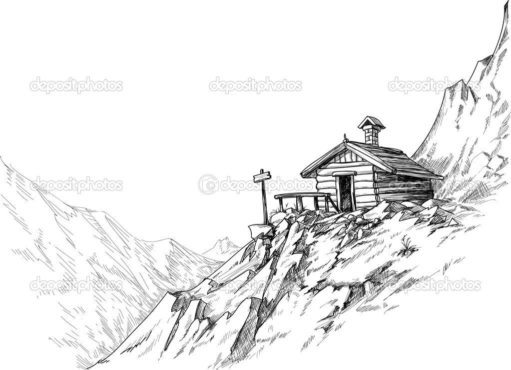 Mountain hut sketch  — Stock Vector #7514404