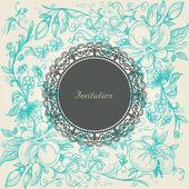 Vintage floral background lace label — Stock Vector