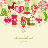 Christmas background in red and green icons — Stock Vector