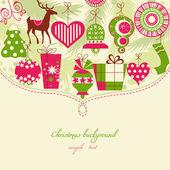 Jul bakgrund i röda och gröna ikoner — Stockvektor