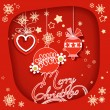 Christmas decorations red paper frame — Imagen vectorial