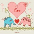 Stock vektor: Little elephants love card